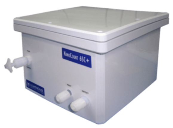 LIQUID PARTICLE COUNTER for large sample volumes and low zero count