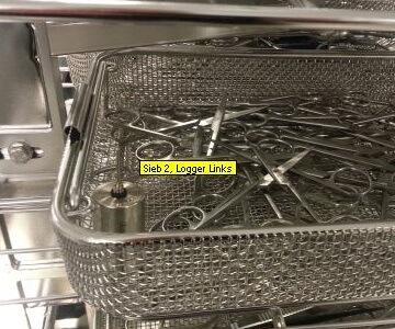Temperaturlogger in der RDG Charge platziert